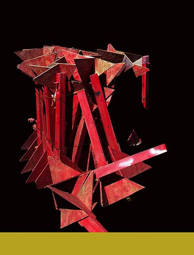 Grit Reiss, rotes Holzkonstrukt, 35x46, 2017